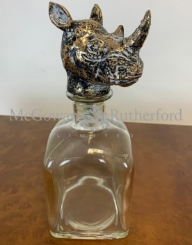 Large Glass Storage Bottle with Rhino Head Stopper