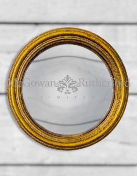 Antiqued Gold Thin Framed Small Convex Mirror
