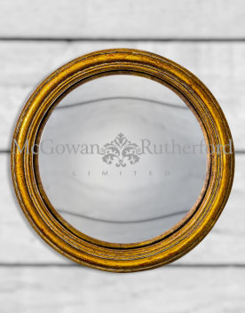 Antiqued Gold Thin Framed Medium Convex Mirror