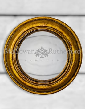 Antiqued Gold Rounded Framed Small Convex Mirror