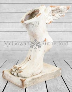 Large Rustic Stone Effect Winged Foot Planter