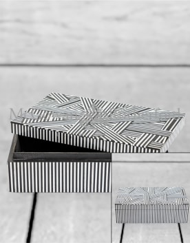 Black and White Striped Large Storage Box