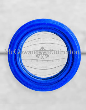Cobalt Blue Flock Thin Framed Extra Small Convex Mirror