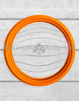 Bright Orange Flock Thin Framed Large Convex Mirror