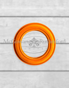 Bright Orange Flock Rounded Framed Small Convex Mirror