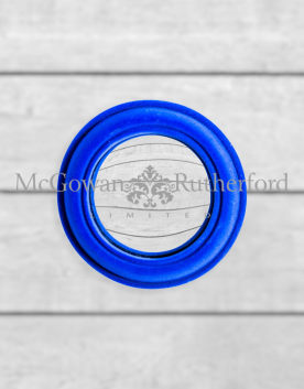 Cobalt Blue Flock Rounded Framed Small Convex Mirror