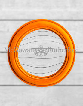 Bright Orange Flock Rounded Framed Medium Convex Mirror