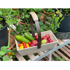 Mango Wood Trug with Folding Handle