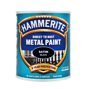 Hammerite Satin Smooth 750ml - Black Satin