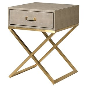 Coach House Sage Faux Shagreen Side Table