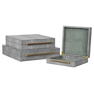Coach House Set of 3 Grey Shagreen Boxes