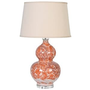 Coach House Orange Bulbous Patterned Lamp