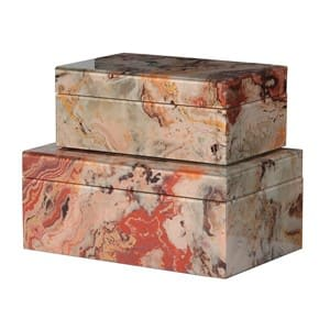 Coach House Set of 2 Marble Effect Boxes