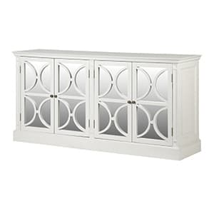 Coach House White Fayence 4 Drawer Mirror Sideboard