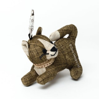 Khaki Linen Tabby Cat Key Ring by Dora Designs