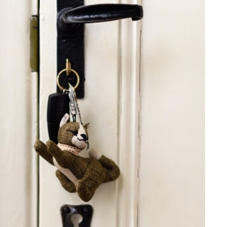 Khaki linen fabric cat key ring by Dora designs