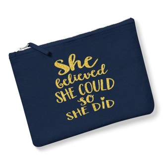 She Believed She Could - Navy, Gold