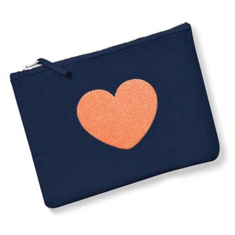 Heart, Navy, Neon Orange