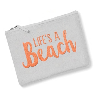 Life's A Beach - Light Grey, Neon Orange