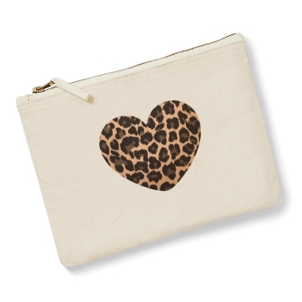 Heart - Natural, Leopard Print