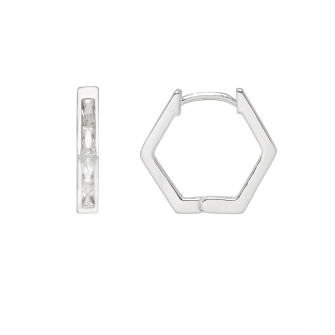 Hexagon Huggie Earrings  - Silver Plated