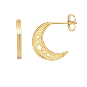 Moon Hoop Earrings  - Gold Plated