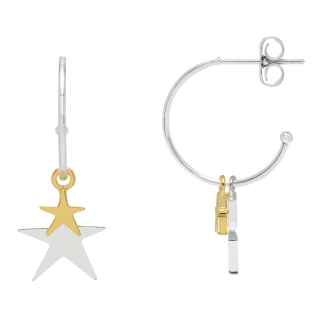 Double Star Drop Hoop Earrings  - Gold and Silver Plated