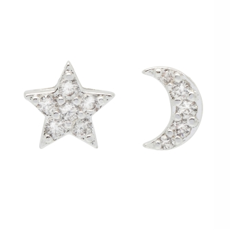Mixed CZ Moon and Star Earrings  - Silver Plated