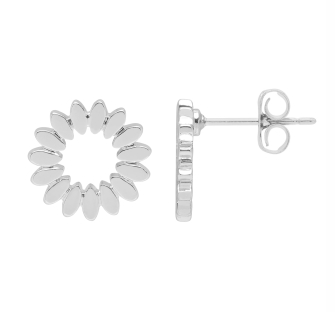 Modern Floral Stud Earring - Silver Plated