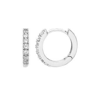 Pave Set Hoop Earrings  with White CZ - Silver Plated