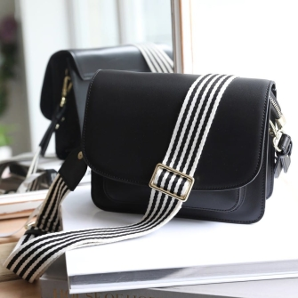 Flapover Black Leather Bag