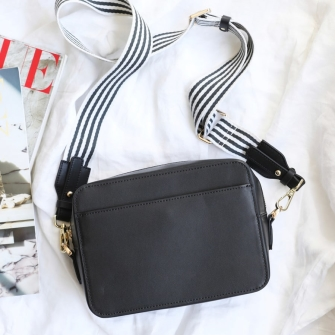 Zip Top Black Leather Bag