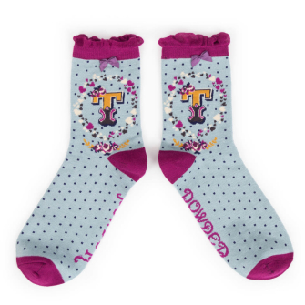 Letter T Ankle Socks