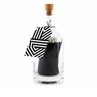 Black Geometric Bottled Matches
