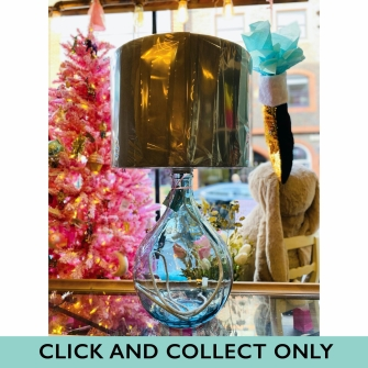 49cm Garrafa Bottle Lamp – Light Blue With Airforce Blue Velvet Shade