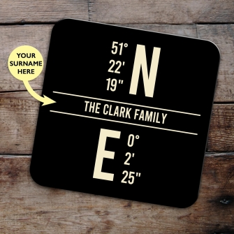 Set of 4 LATITUDE & LONGITUDE Coasters