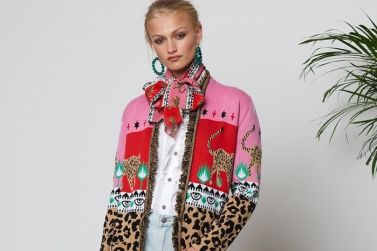 hayley menzies super cardigan long leopardess duster red pink