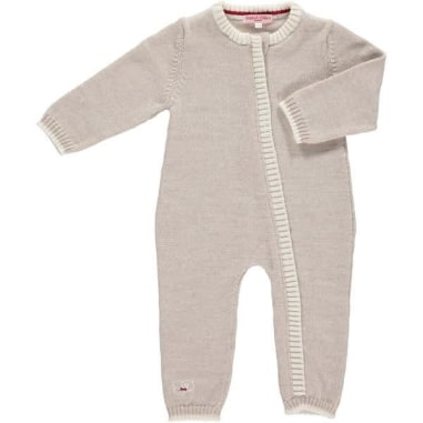 Merino Zip Up Babygrow - Oatmeal