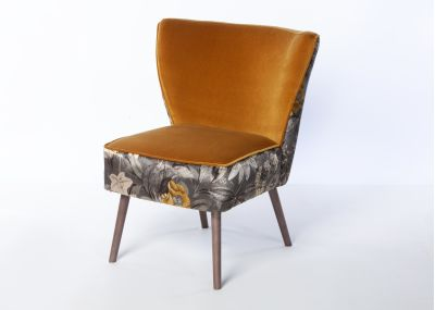 Phoebe Chair Smoke Leg - Passiflora Charcoal & Vintage Mustard