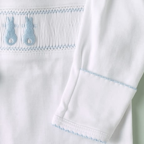 Embroidered Bunny Smocked Babygrow - Blue