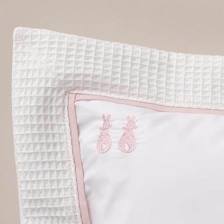 Pillowcase - Embroidered Bunny Pink