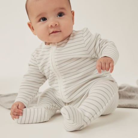 Mori Zip Up Babygrow - Teal Stripe