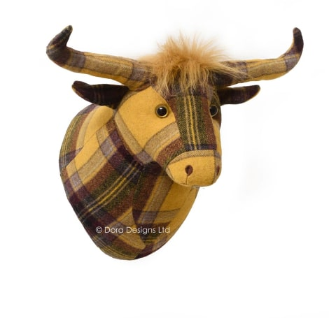 Plaid Highland Cow Trophy Head