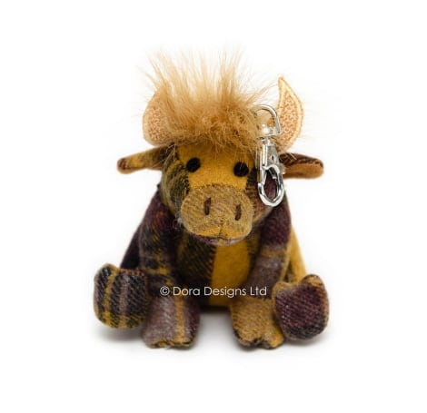 Plaid Highland Cow Key Ring