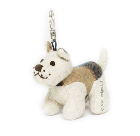 Plaid Westie Dog Key Ring