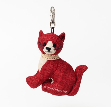 Red Linen Tabby Cat Key Ring SALE 40% OFF