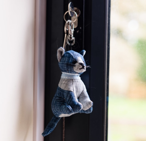 Blue Linen Tabby Cat Key Ring - SALE 40% OFF