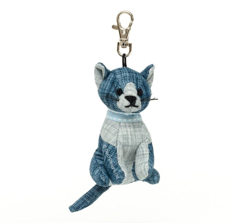 Blue Linen Tabby Cat Key Ring