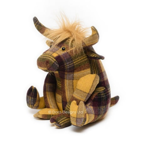 Plaid Highland Cow Doorstop