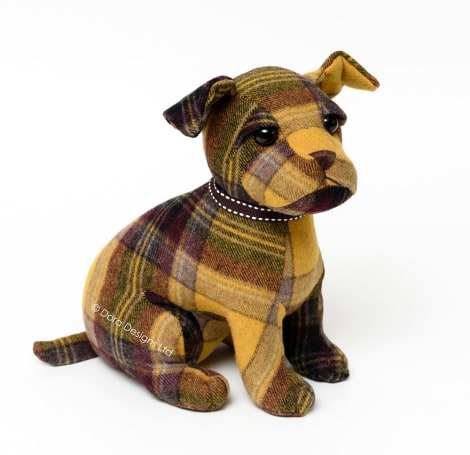 Plaid Calum Cairn Terrier Dog Doorstop